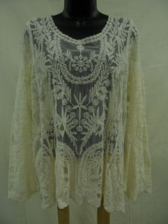 Plus Size 1X SHEER EMBROIDERED LACE Top 100% COTTON Shirt IVORY Sexy Trendy NWT…