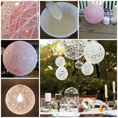 ▷ original and cool craft ideas for inspiration - diy lampshades made of white yarn, ball, garden decoration, table Best Picture For crafts para ven - Ball Decorations, Wedding Decorations, Christmas Decorations, Diy Luz, Fun Crafts, Diy And Crafts, Diy Chandelier, Outdoor Chandelier, Hula Hoop Chandelier