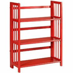 Red folding bookcase