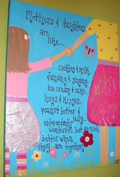 Mothers and daughters Handpainted Original CUSTOM 16x20 canvas.  via Etsy.