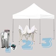 Commercial Grade STD 10x10 White Canopy Tent Pop up Gazebo Canopy Shelter with Wheeled Bag * Click image to review more details.