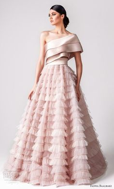 fadwa baalbaki spring 2018 couture one shoulder tiered bodice ruffled skirt romantic pink a line wedding dress mv -- Wedding Dress Trends to Love in Necklines & Sleeves Evening Dresses, Prom Dresses, Summer Dresses, Long Ball Dresses, Ruffled Dresses, Couture Dresses, Fashion Dresses, Fashion Clothes, Couture Tops