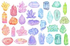 Drawing On Creativity Watercolor crystals, minerals, gems by Just_create on Creative Market Kunst Inspo, Art Inspo, Watercolor Pattern, Watercolor Art, Crystal Drawing, Crystals Minerals, Art Lessons, Art Reference, Illustration