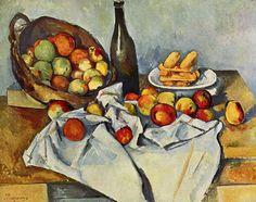 Cézanne - Stilleben mit Flasche und Apfelkorb