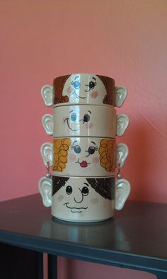 Vintage Family Face Bowl Set of 4 by InRareFormVintage on Etsy, $38.00