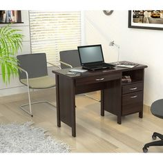 @Overstock - Inval Softform Espresso Computer Desk - Organize your work area more efficiently with this sleek espresso computer desk. This desk features a storage area, one accessory drawer and one file drawer. A slide out keyboard shelf concealed by a mock center drawer adds to the smart style.  http://www.overstock.com/Home-Garden/Inval-Softform-Espresso-Computer-Desk/6412911/product.html?CID=214117 $165.97