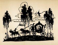 Scherenschnitt. Kutsche mit einer Prinzessin von zwei Pferden gezogen in einer Phantasielandschaft. Anonym: Unter Glas in schwarz lackierter Holzleiste gerahmt. Bildmaße ca 17 : 22 cm, Rahmen 24,5 : 31 cm. 10102 im Angebot bei Buchfreund.de