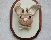Faux Taxidermy Hipster Nerd Jackalope on Distressed Painted Plaque