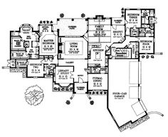 HHHHH Love the versatility of this plan. Only needs a mudroom. His & Her bathroom wings for MBR, butler's pantry & pantry, MBR w/sitting area (which could go out to screened in sleeping porch! Bedroom 3 & 4 could have jack & jill bath for more bedroom space. Bedroom 2 could have entrance to his bathroom so he has extra bedroom for working & late night TV, then Bath 2 can have access to the Library/Study/Office.