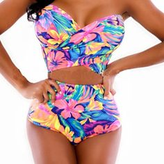 404b1ccd3d Colorful Tankinis Sets Swimwear High Waist Fashion Sexy Swimsuit female  Vintage Ladies Tankinis Sets For Women