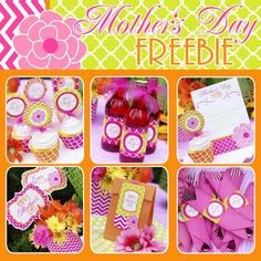 Free Mother's Day Printables - Cupcake toppers, tags, signs, a banner, drink wraps, napkin wraps & more