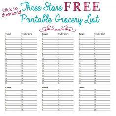 organized grocery list 3 free printable templates