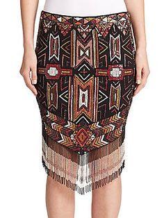 Haute Hippie Apache Embellished Fringe Skirt