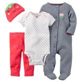 The perfect gift for a newborn baby girl, this soft cotton set is complete with a sleep