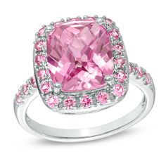 Cushion-Cut+Lab-Created+Pink+Sapphire+Ring+in+Sterling+Silver+-+Size+7