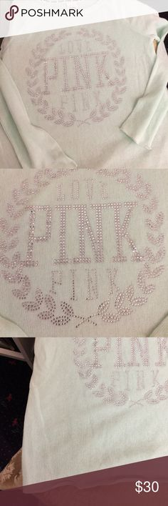 VS PINK lightweight sweater Mint lightweight VS PINK bling sweater. Small mark as pictured other wise in great condition. Oversized PINK Victoria's Secret Sweaters