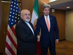 US Secretary of State John Kerry (R) with Iran's Foreign Minister Mohammad Javad Zarif, on April 19, 2016 at the UN in New York