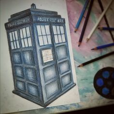 #drawing #doctor #who #tardis #blue