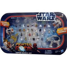 Star Wars Super Battle Set - Destined to be a collectible! Hasbro Star Wars Fighter Pods Super Big Battle Set Series 1 / Includes: 30 1-inch Figures, 4 Vehicles, 10 Pods / ~ MPN: 830410 ~ /Micro Heroes - Mega Battles! / 3 Ways to play: Spin, Launch, Roll / Vehicles: 2 Snowspeeders, Jedi Starfighter, AT-AT on sale $36