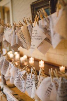 Heftblätter oder Servietten von den Gästen beschriftet und aufgehängt