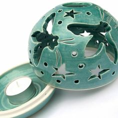 Mint Green Turquoise Candle holder, Handmade Pottery, Ceramics Flying Bee Candileria™ by BlueRoomPottery | BlueRoomPottery... plus (+)