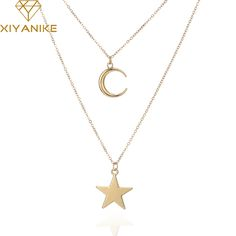 XIYANIKE 2017 New Big Brand Fashion Necklace Star Moon Alloy Pendant Maxi Necklaces Jewelry for women necklaces & pendants N257 #Affiliate