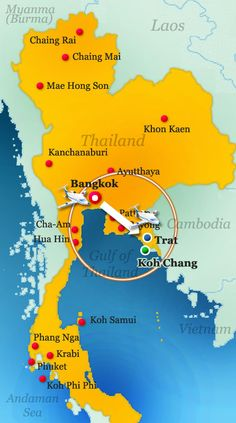 Koh Chang maps come in all shapes and sizes. This Koh Chand map gives you some perspective on where the island is in relationship to both Thailand and Cambodia.