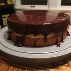 A wicked good chocolate glazed, custard filled, cake! Chocolate Glaze, Best Chocolate, Boston Cream Pie, Wicked Good, Custard Filling, Creamed Eggs, Round Cake Pans, Oven Racks, Corn Syrup