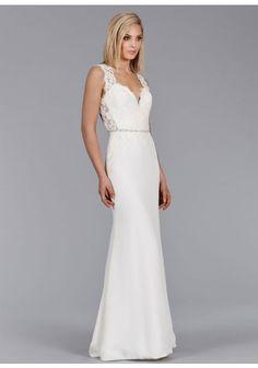 V Neck Court Train Chiffon Sheath Column Wedding Dress