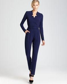 New NWT RACHEL ZOE Gemma navy crepe tailored jumpsuit romper US 4