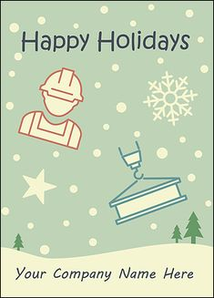47801afff86 Construction Snowfall Card (Glossy White) Build your business and increase  profits in the new. Company Christmas CardsHoliday ...