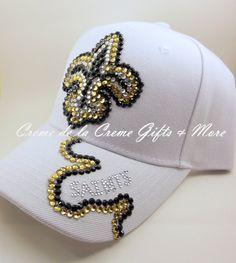 New Orleans Saints Bling Cap by CremeDeLaCremeGifts on Etsy, $70.00