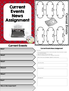 Teach your students about Canadian and World current events using a variety of graphic organizers and response questions formats. ($1.50)