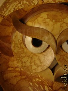 Woodturned Intarsia Sculpture detail of owl