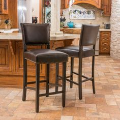 Castana Brown Leather Backed Barstool (Set of 2)