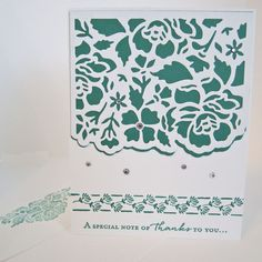 Note of Thanks Card, hand stamped card, thank you card, appreciation card, die cut floral motif, embellished with faux rhinestones, by EnchantedRoseByLinda on Etsy Thanks Note, Thanks Card, Floral Motif, Floral Design, Appreciation Cards, Die Cut Cards, White Envelopes, Card Sizes, Hand Stamped
