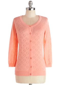 Less is Amour Cardigan in Peach - Sheer, Knit, Mid-length, Pink, Solid, Buttons, Casual, Valentine's, Long Sleeve, Pastel, Spring