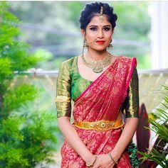South Indian Bridal Jewellery, Indian Bridal Fashion, Pattu Sarees Wedding, Silk Sarees, Half Saree Designs, Blouse Designs, Traditional Indian Jewellery, Bridal Makeover, Beautiful Saree