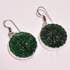 Amazing Emeral Quartz Peacock Carving .925 Silver Handmade Earring Jewelry R2098 #Handmade
