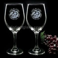 Set of 2 WEDDING ANNIVERSARY WINE Glasses  5th by distinctglass