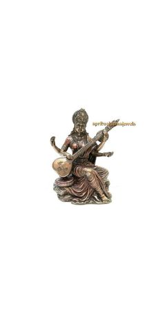 Saraswati Idol, Saraswati Statue, Saraswati Goddess, Indian Art, My Etsy Shop, Bronze, Gemstones, Check, Indian Artwork