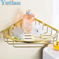 Free Shipping Wall Mounted gold color solid brass Bathroom Shower shampoo Shelf  bathroom Basket Holder Fashion Double Layer #Affiliate
