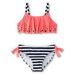 Girls 2 Piece Star Flounce Top And Striped Bottom Bikini Set