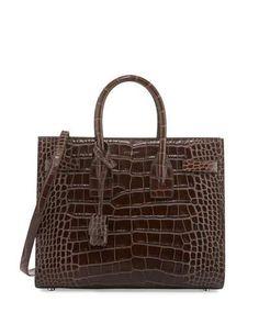 Saint Laurent Sac de Jour Small Crocodile-Embossed Satchel Bag, Dark Brown