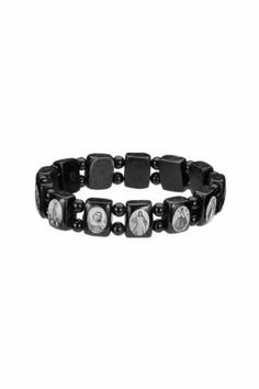 Saints Bracelet - Black Wood - Small Squares with Black Color Beads Spacers and Black and White Images - Made in Brazil Religious Gallery. $2.99. Made in Brazil. Assorted Catholic Images. Black and White Images. Black Color Beads. Solid Black Wood. Save 40%!