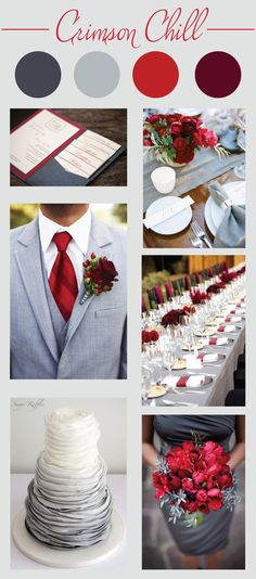 Crimson Wedding Color Palette - LinenTablecloth - - Are you planning a winter wedding? Then check out this inspiration board featuring a crimson wedding color palette. Gray Wedding Colors, Wedding Color Schemes, February Wedding Colors, Red Grey Wedding, Maroon Wedding, Crimson Wedding Ideas, Wedding Themes Red, Wedding Trends, Burgundy Silver Wedding