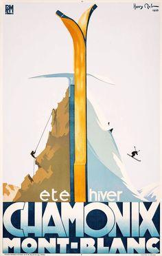 ✨ Henry Reb (1883-1959) - Chamonix. Mont Blanc.. Éte, hiver. PLM, 1933. Imp. Lafayette, Paris