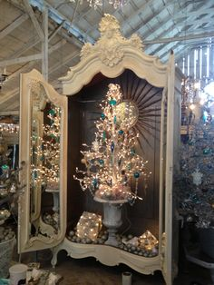XMAS TREE IN ARMOIRE.now going to search for an amazing armoire to open for Christmas! Christmas Booth, Christmas Store, Pink Christmas, Beautiful Christmas, Vintage Christmas, Christmas Holidays, Christmas Crafts, Christmas Decorations, Holiday Decor