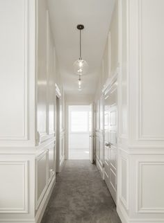 White & Gold Design - entrances/foyers - full wall wainscoting, hallway wainscoting, cream wainscoting, floor to ceiling wainscoting, raised...