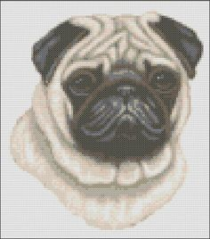 This pattern is of a fawn Pug head and uses 16 colours. The pattern size is 100 x 113 stitches. Each chart is printed over four pages and the
